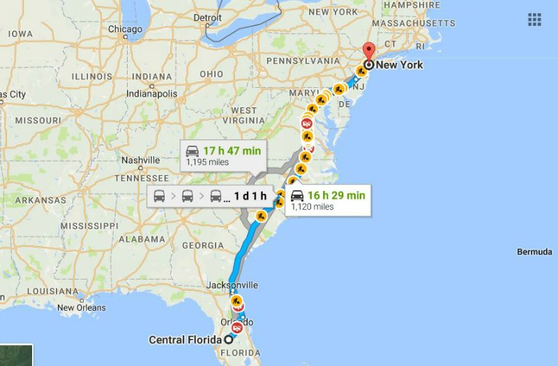 Travel from Central Florida to New York